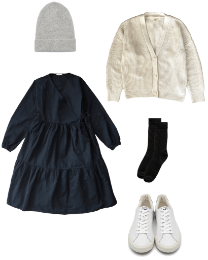 Basic winter outfit with black dress, cardigan, sneakers
