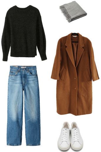 Basic winter outfit with black crew sweater, medium wash denim, camel coat, sneakers