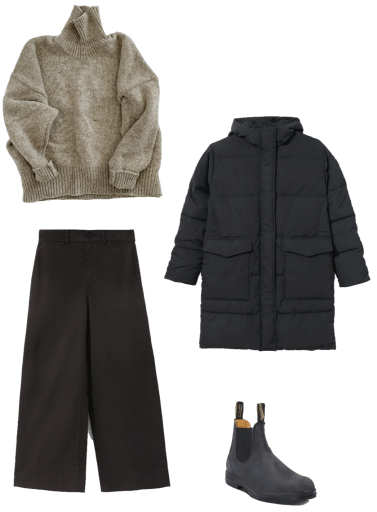 Basic winter outfit with chunky turtleneck, wide leg pants, parka, winter boots