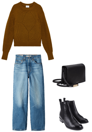 Basic winter outfit with ochre crew sweater, medium wash denim, chelsea boots
