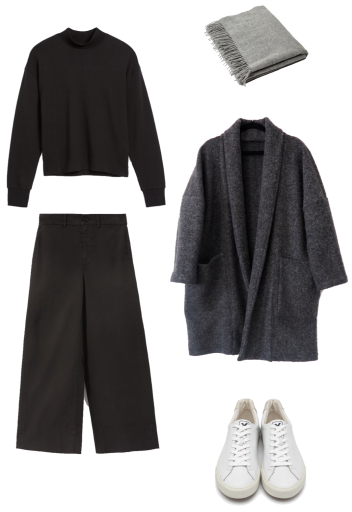 Basic winter outfit with black mockneck, wide leg pants, long cardigan, sneakers