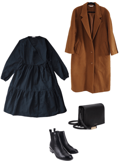 Basic winter outfit with black dress, camel wool coat, chelsea boots