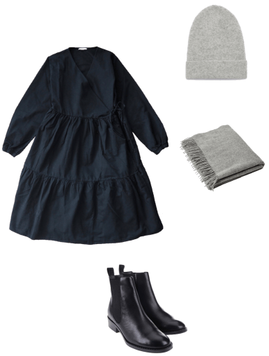 Basic winter outfit with black dress and chelsea boots