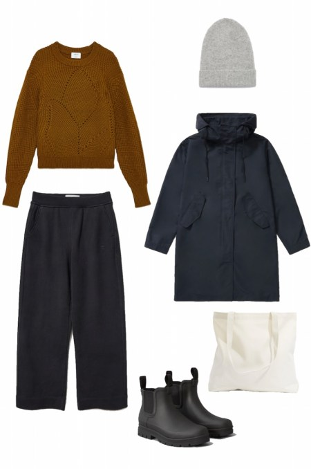Ochre sweater, wide leg pants, and rain jacket outfit