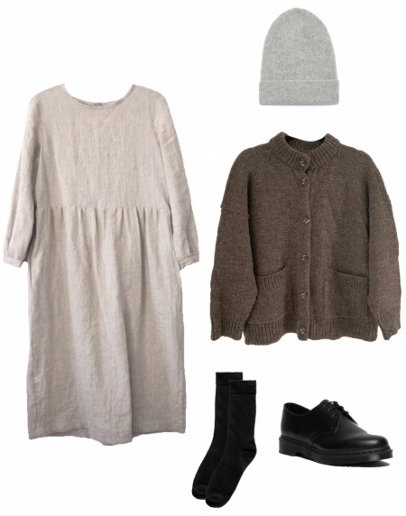 Linen dress and wool cardigan fall outfit