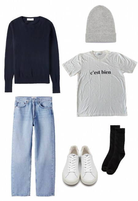 Graphic t-shirt, cashmere crew sweater, and jeans outfit