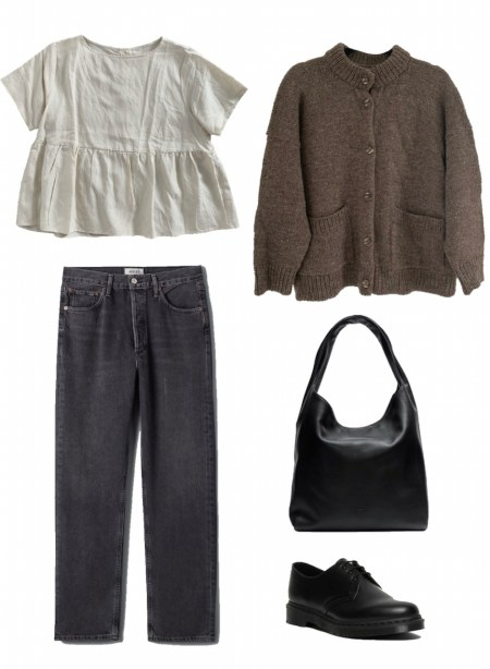 Peplum top, jeans, and wool cardigan outfit