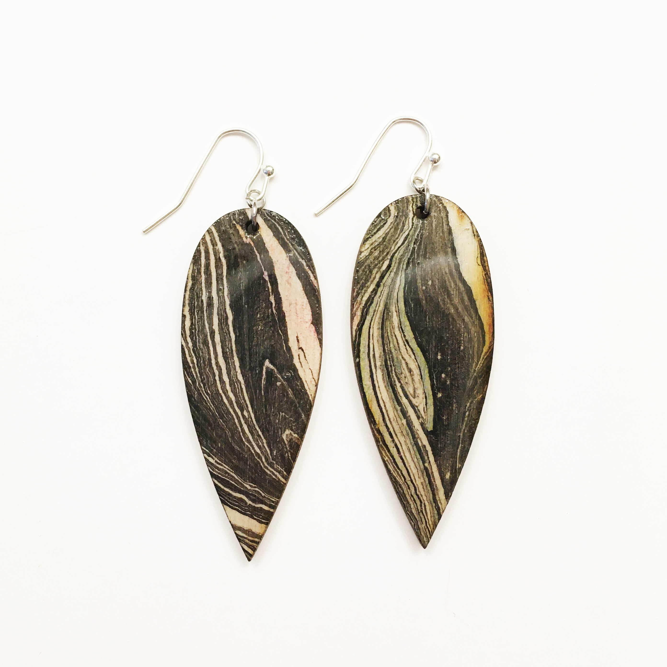 Teardrop Earrings – Black And White Marbled