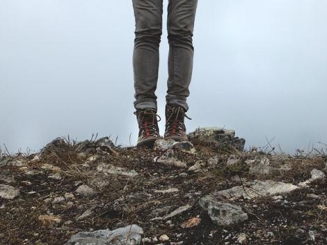 hiking boots mist walk