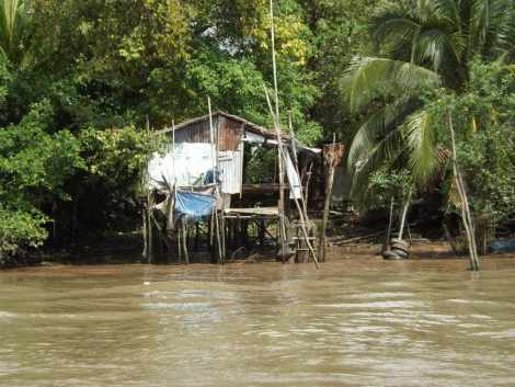 A house on the banks of the Mekong