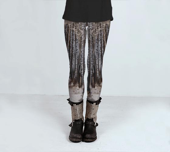 Art Leggings, Printed Leggings, Black and White Leggings