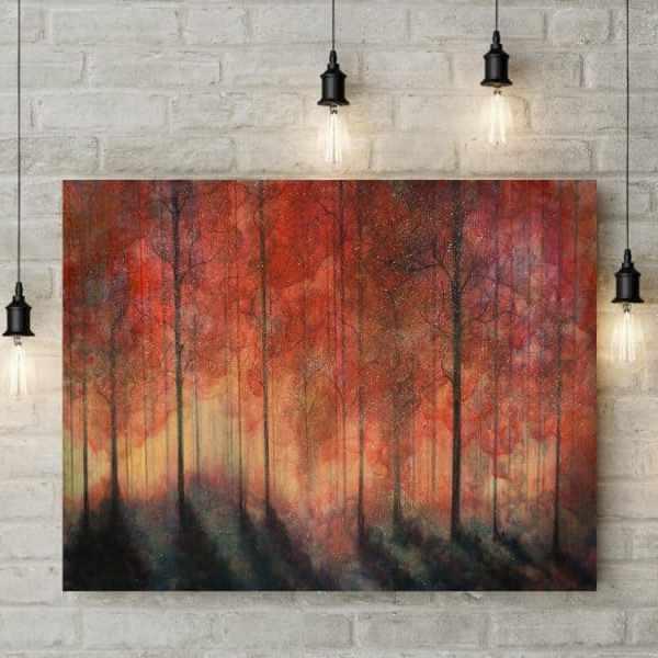 forest art, red tree art, backlit forest