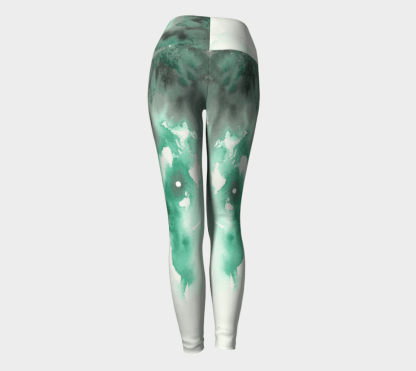 Watercolor Leggings, Green Leggings, Green Watercolor