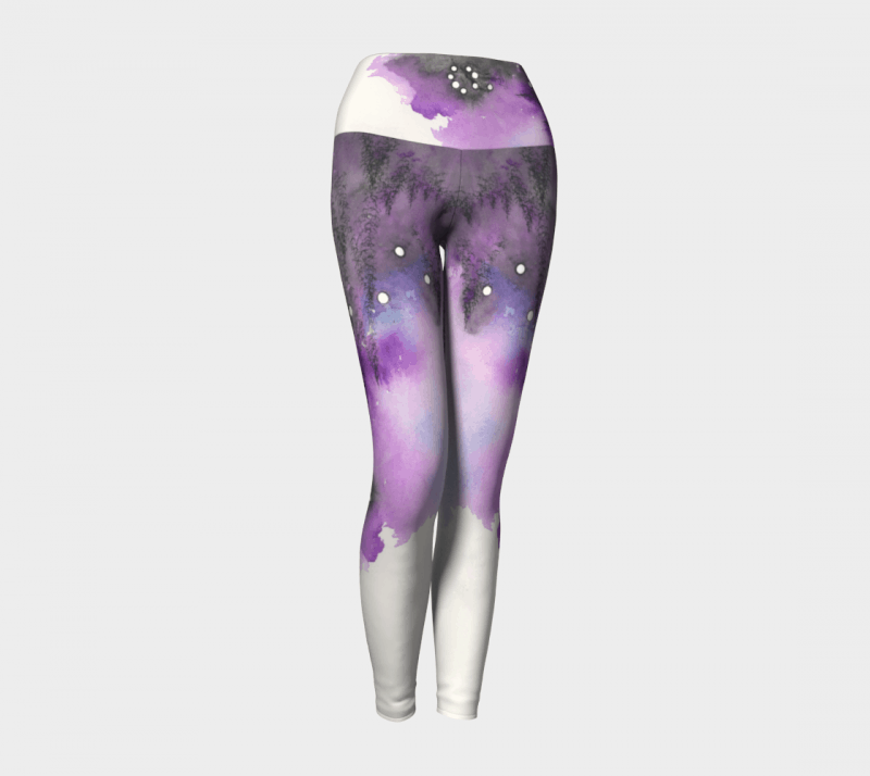 Watercolor Leggings, Purple Leggings, Art Leggings