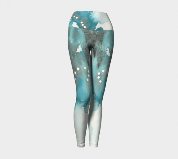 Watercolor Leggings, Teal Leggings, Art Leggings