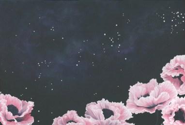 galaxy art, pink poppies, poppy art, nature art