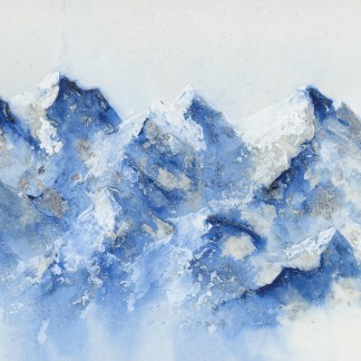 mountain art, mountain painting, silver art, landscape mountains
