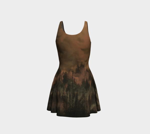 copper dress, black dress, tree dress, flare dress