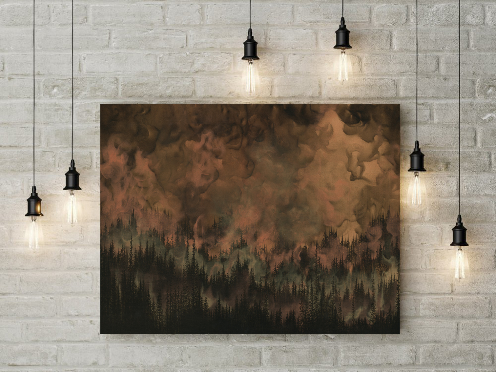 forest art, nature art, copper art, tree art, forest painting