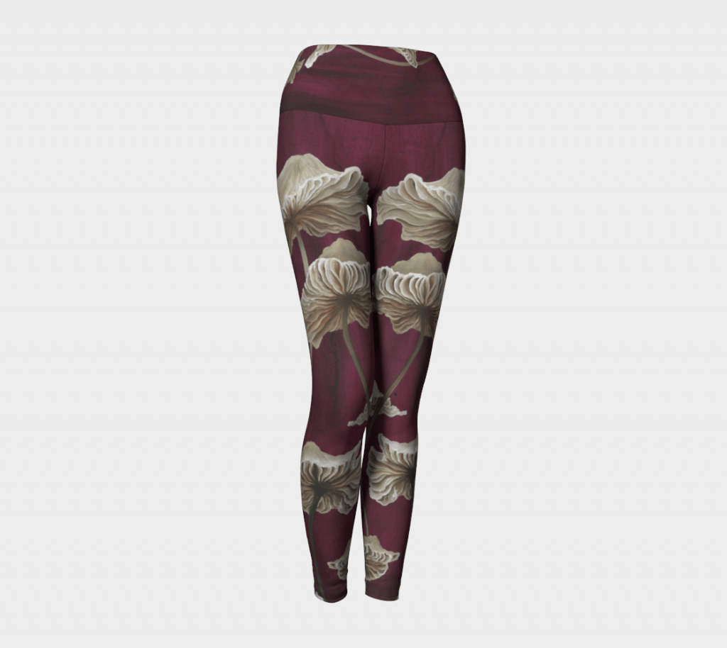 mushroom leggings, red leggings, printed leggings