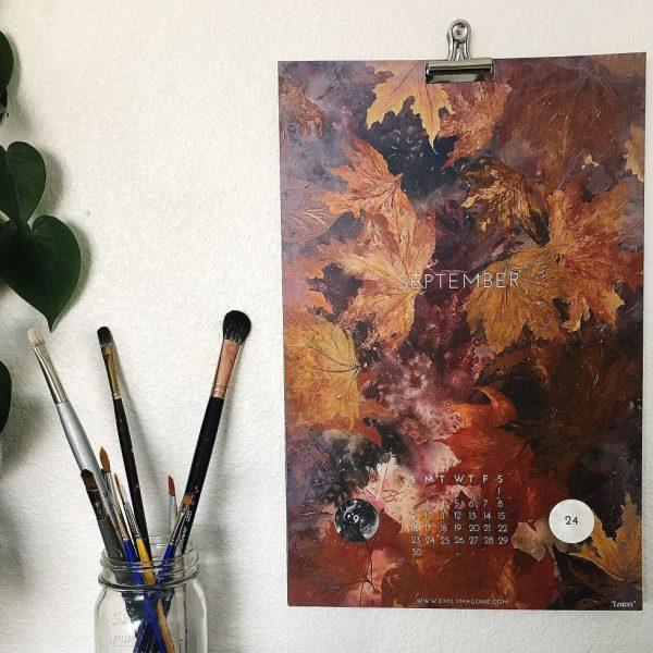 art calendar, moon calendar, 2018 calendar, nature calendar, wall calendar