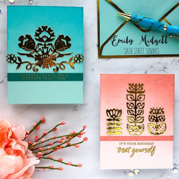 Spellbinders guest designer part 3 for both of these projects i simply die cut the floral bouquet die and the nordic floral dies from some beautiful gold foil for the peach card i started m4hsunfo