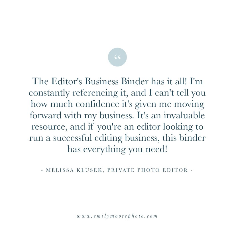 The Editor's Business Binder | The Shop by Emily Moore | Emily Moore Boutique Photo Editing