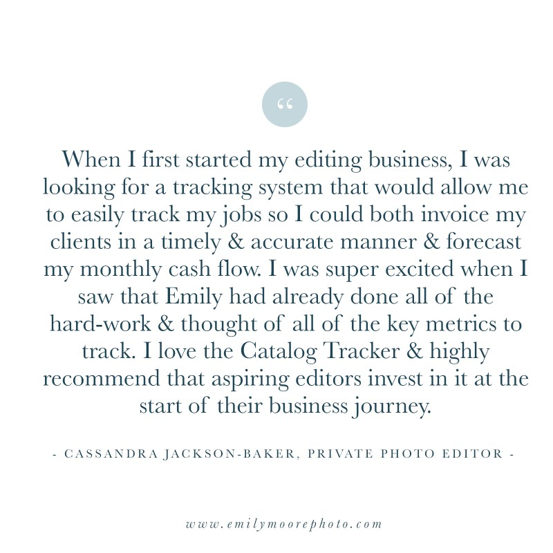 Catalog Tracker Spreadsheet | The Editor's Business Binder | Emily Moore | Private Photo Editing