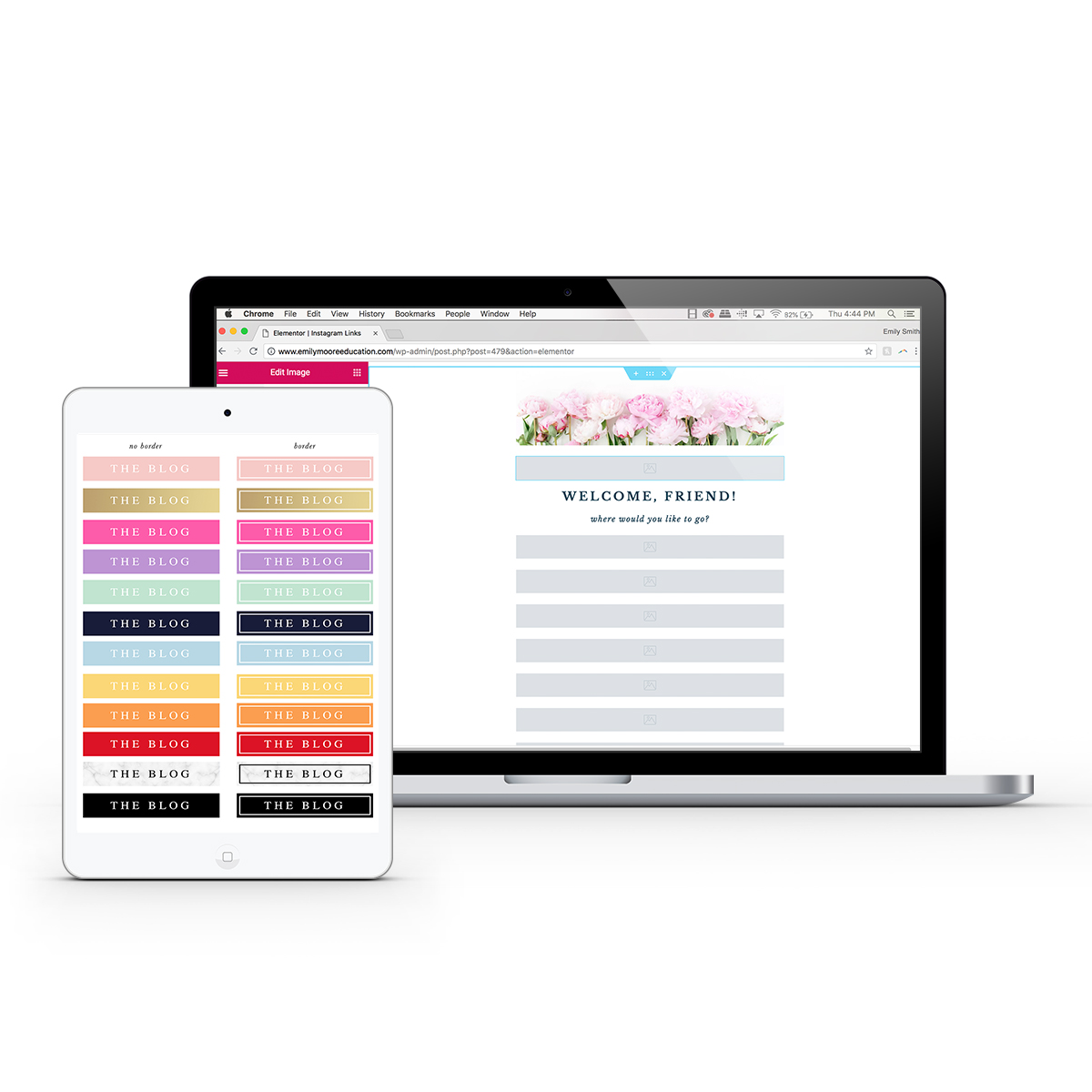 Instagram Links Template & Buttons Bundle for Wordpress   Emily Moore -  Boutique Photo Editing