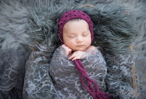 Sweet newborn, fall colors, gray lace, grey flokati, mulberry colored bonnet for newborns