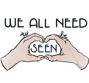 """Emily P.G. Erickson's hand lettered writing, """"We all need to be seen."""""""