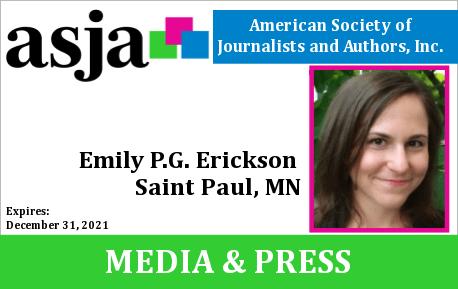 Emily P.G. Erickson's ASJA press credential.