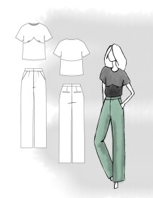 Silk Colorblock Blouse and Wide Leg Trousers