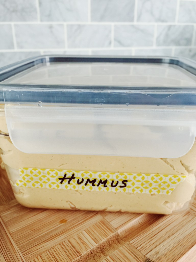 Healthy Homemade Hummus Recipe for Snack. Cute washi tape labels!