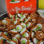 Dr Seuss party Green Eggs with Ham chocolate pretzel snack