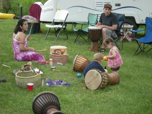 Antoinette, Joshua, Andros & Ellie all drumming!