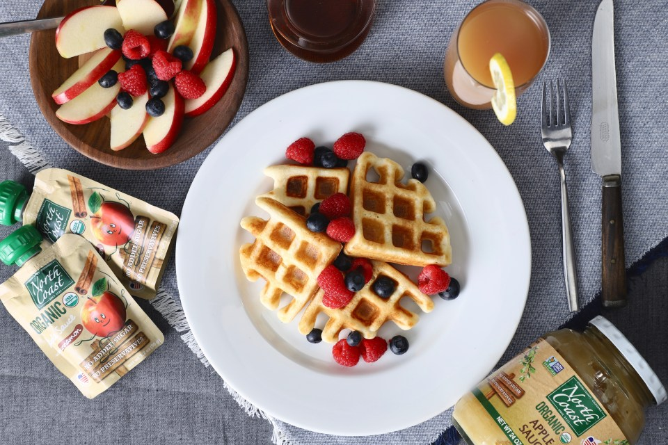 North Coast Organic Waffles with Apple Sauce