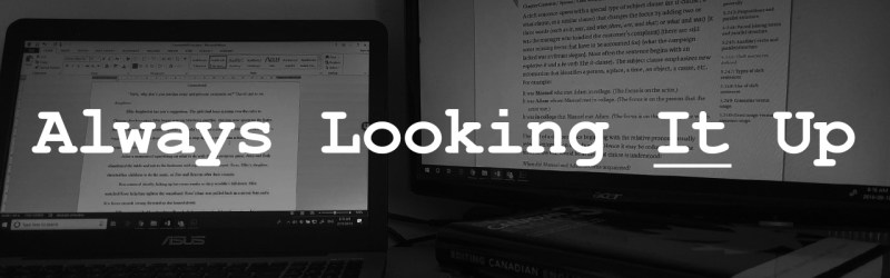 """""""Always Looking It Up"""" over photo of computer screens and books"""