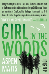 Cover of Girl in the Woods, which shows black trees against a green background