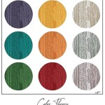 Drawings of nine circles outlined by a box with the same patterns showing the primary and mixed colors with their opposites