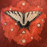 Paintings of a butterfly that is black and white with gold and blue accents on a background of orange and shapes around