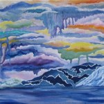 Painting of mountains over a lake with a sunrise in the background where colors melt together as abstract wall art for sale