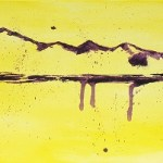 Painting of purple mountains on canvas with a yellow background showing beautiful minimalist art of mountain landscapes