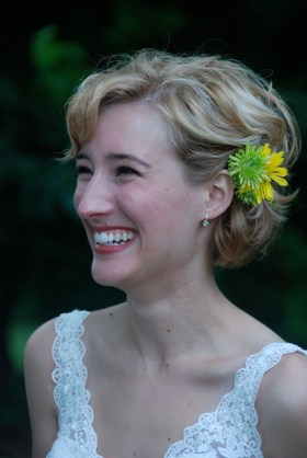 Claire made her hair ornament out of fresh stems. Photo by Charles Weathers