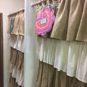 Great ideas from Ava's Attic dressing room using burlap, muslin, & clever signage