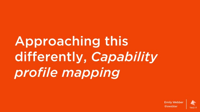 Approaching this differently, Capability profile mapping