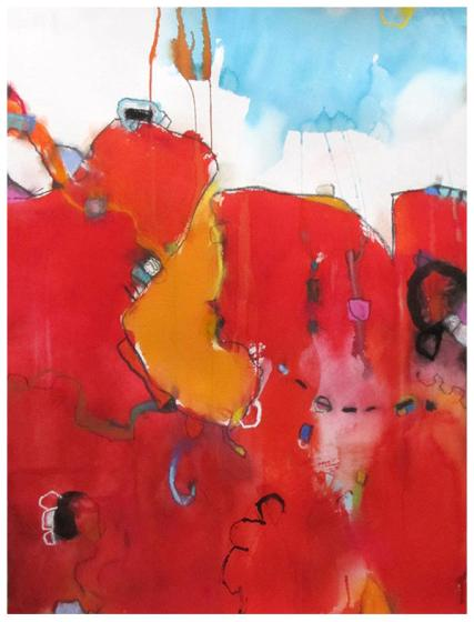 """watercolor, pastel on paper   30""""h x 22""""w   $795"""