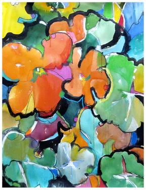 """watercolor, pastel on paper   40"""" x 30""""   commissioned by Kaiser Hospital, San Leandro"""