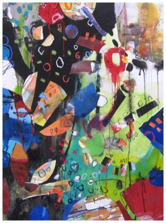 "watercolor, pastel, collage on paper | 30""h x 30""h 