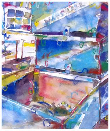 "watercolor, pastel, pencil on paper   13.5"" x 11.5""   $200"